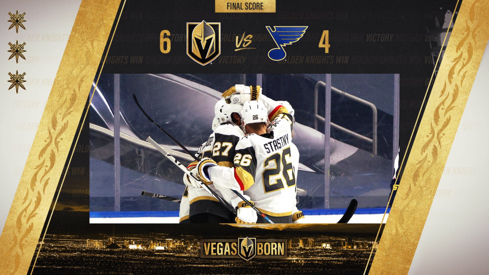 Vegas Rides Three-Goal Third to Beat the Blues 6-4